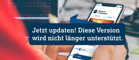 Bild mit neuer Radio-App auf Smartphone mit Schrift Jetzt Updaten, wird nicht mehr unterstützt