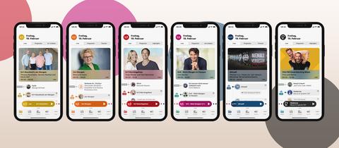 Sechs Smartphones mit App-Ansicht