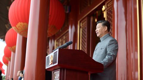 Xi Jinping bei einer Rede zum hundertjährigen Bestehen der Kommunistischen Partei Chinas. (EPA)