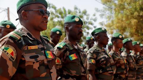 Soldaten der malischen Armee, die an der EUTM-Ausbildungsmission teilnehmen (Foto vom 25.05.2021). (REUTERS)