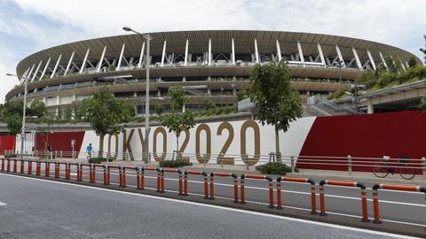 Außenansicht des Nationalstadions in Tokio (dpa)