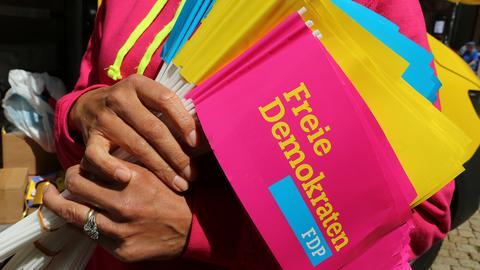 Eine Person hält FDP-Werbemittel während einer Wahlkampfveranstaltung in Halberstadt (Sachsen-Anhalt) in den Händen. (dpa)
