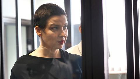 Maria Kolesnikowa während einer Gerichtsverhandlung (Archivbild: 04.08.2021) (dpa)