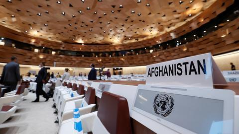 Konferenzsaal der UN in Genf während der Afghanistan-Geberkonferenz. (REUTERS)