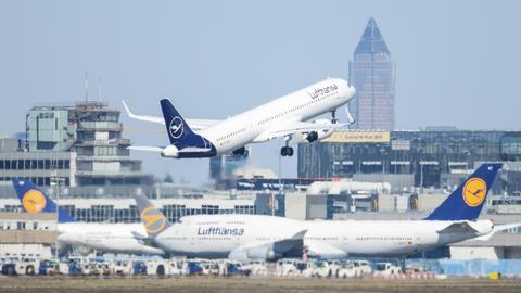 Ein Airbus der Lufthansa startet am Frankfurter Flughafen über anderen Passagiermaschinen der Airline.  (dpa)