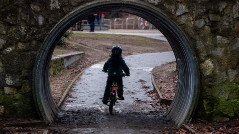 Kind auf einem Fahrrad im Park (dpa)
