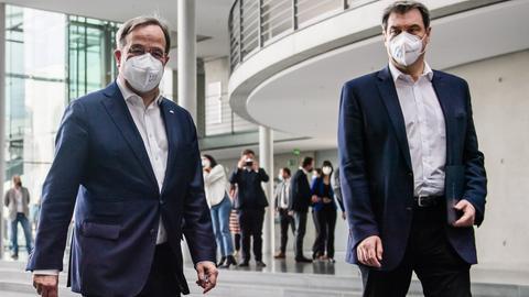 Armin Laschet und Markus Söder (11. April 2021) (EPA)