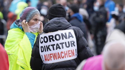 Querdenker Demo Frankfurt (dpa)