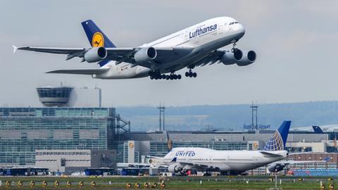 Lufthansa-Maschine beim Start (dpa)