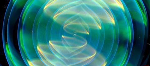 Numerisch-relativistische Simulation zweier einander umkreisender und verschmelzender Neutronensterne. Dargestellt sind die bei der Verschmelzung abgestrahlten Gravitationswellen.