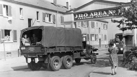 Nach der Landung auf dem Rhein-Main-Flughafen in Frankfurt im Juli 1948 werden die Displaced Persons mit Lastwagen in das IRO-Lager Zeilsheim gebracht.