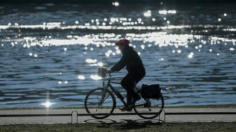 Ein Fahrradfahrer ist im morgendlichen Gegenlicht am Mainufer unterwegs.