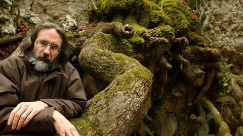 John  Howe lehnt an Baumstamm