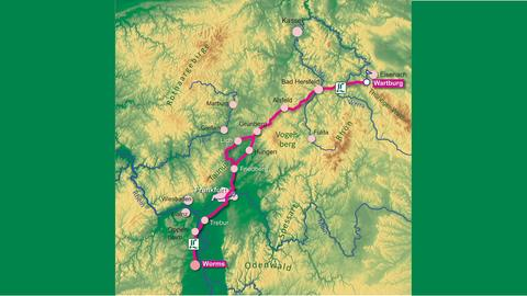 Verlauf des Lutherwegs von Worms zur Wartburg