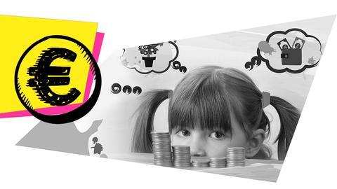Mädchen mit Münzen und Grafik