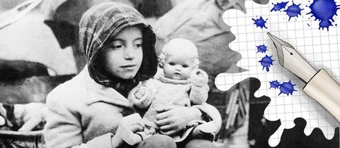 Flüchtlingskind und Grafik