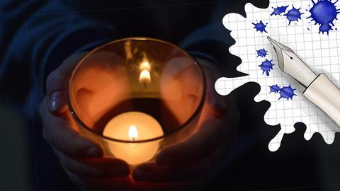 Mensch Hält Kerzen in der Hand und Grafik