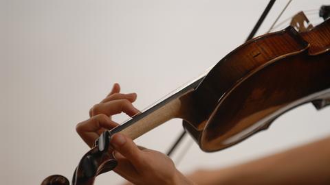 Eine Frau hält eine Geige