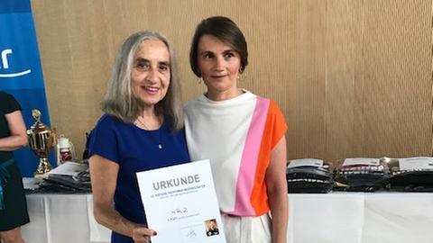 Barbara Vogel und Gordana Schneider bei Tischtennis-Meisterschaft ARD, ZDF, ZBS