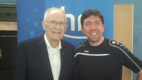 Sebastian Manntz (Turnierleiter) und Hans Wilhelm Gäb (Ehrenpräsident des Deutschen Tischtennis-Bundes)