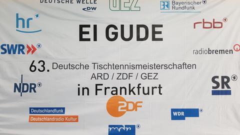Banner der Tischtennis-Meisterschaft von ARD, ZDF und ZBS