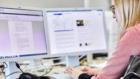 Junge Frau Arbeitet am Bildschirm