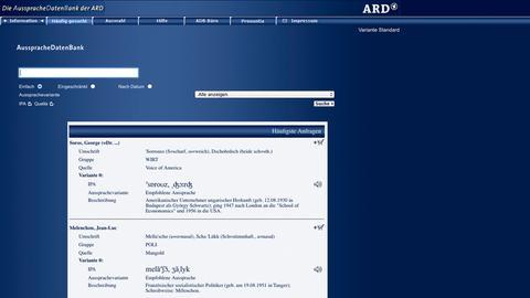 Screenshot der ARD-Aussprachedatenbank