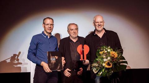 Publikumspreisträger Martin Enlen, Festivaldirektor Dr. Michael Kötz und Andreas Thiele (Förderverein Festival des deutschen Films)  v.r.n.l.