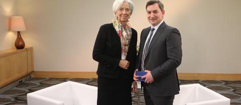 Die Chefin des IWF, Christine Lagarde, und ARD-Börsenexperte Markus Gürne