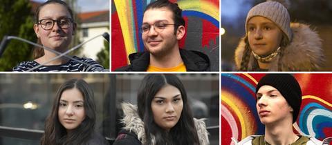 Eine Collage aus den Fotos von sechs Schüler*innen