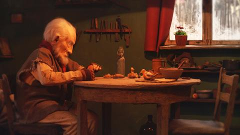 "Filmstill aus dem Animationsfilm ""The old man and the bird"""