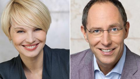 Die Moderatoren Susan Atwell und Thomas Ranft
