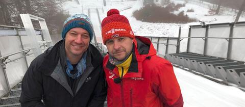 Tobias Kämmerer (li.) mit Jörg Pitschmann auf der Mühlenkopfschance