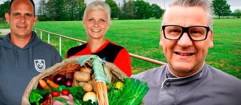 Marc Lukas und Anna-Lena Schestag vom TSV Odershausen mit Spitzenkoch Klaus Breinig