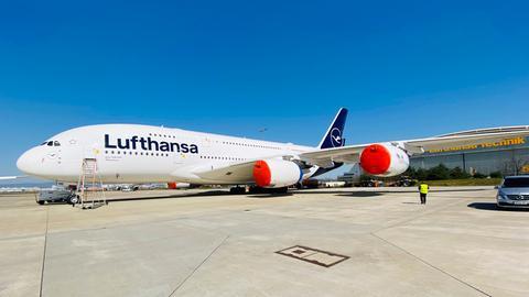 Stillgelegter A380 am Frankfurter Flughafen