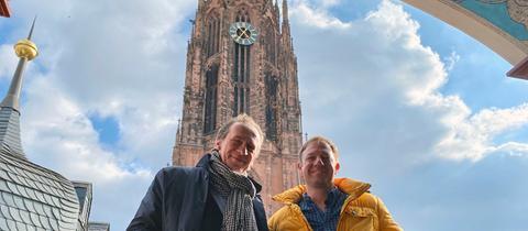 Tobias Kämmerer mit Projektleiter Matthias Leissner im Belvederchen der Goldenen Waage.
