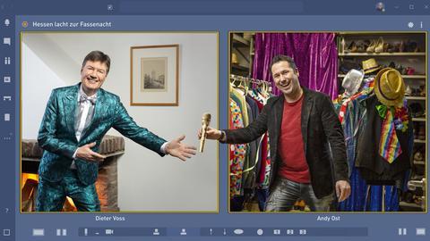 "Virtueller Moderationswechsel bei ""Hessen lacht zur Fassenacht"": Dieter Voss übergibt die Moderation der Sendung an Andy Ost."