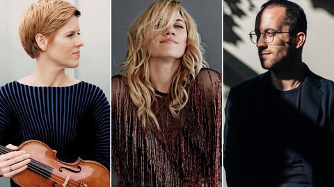 Porträts von Isabelle Faust, Lucy Woodward, Igor Levit