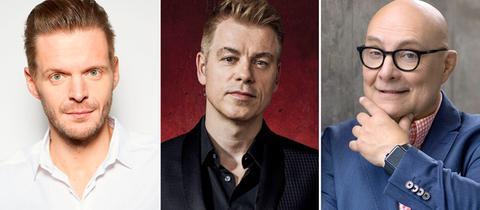 In der hr1-Satire Lounge: Florian Schroeder, Michael Mittermeier, Thomas Koschwitz