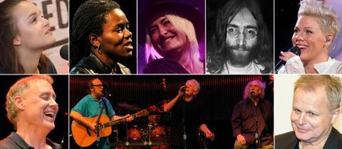 Collage mit Bilder von Lotte, Tracy Chapman, Sarah Connor, John Lennon, Pink, Bruce Hornsby, CSN, Herbert Grönemeyer