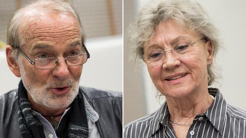 """Claus Dieter Clausnitzer und Antje Hagen bei der Produktion des Kinderhörspiels """"Eine Hand voller Sterne""""."""