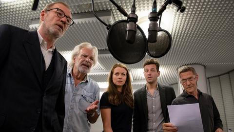 """Bei den Aufnahmen der Hörspielserie """"Der nasse Fisch"""" von Radio Bremen, rbb und WDR"""