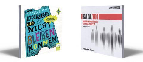 """Die Cover der Hörbücher des Jahres 2021: """"Dinge die so nicht bleiben können"""" und """"Saal 101""""."""