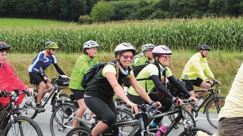 Gute Laune bei der hr4-Radtour