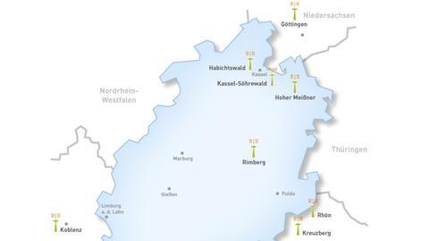 Karte DVB-T2-Sender in Nordhessen