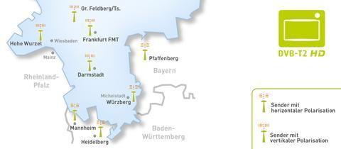 Karte Senderstandorte DVB-T2 Südhessen