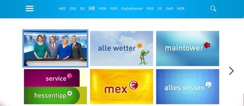 Screenshot der HbbTV-Mediathek hr-fernsehen