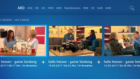 """Screenshot der ARD-Mediathek mit der Sendung """"hallo hessen"""""""