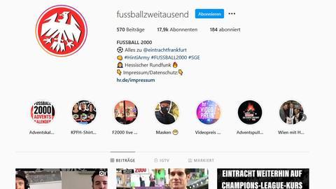 Die Seite von Fußball 2000 bei Instagram