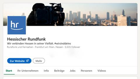 Die Seite des Hessischen Rundfunks bei LinkedIn